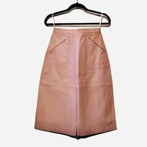 Nwot Tracy Lewis blush Leather skirt Zipper accent